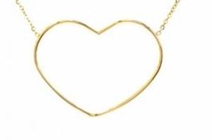 M5C152  Collier grand coeur ajouré doré Lg 37cm + 5cm rallonge pendentif H3.00cm L3.90cm acier inoxydable - Mile Mila 23.4 - Copie
