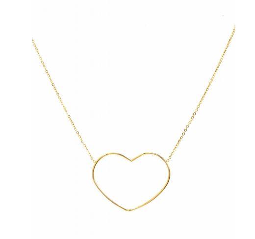 M5C152  Collier grand coeur ajouré doré Lg 37cm + 5cm rallonge pendentif H3.00cm L3.90cm acier inoxydable - Mile Mila 23.4