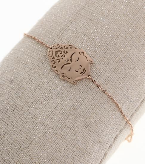 Bracelet bouddha or rose pendentif H2.00cm L1.50cm acier inoxydable M5C43B Milë Mila 20.4