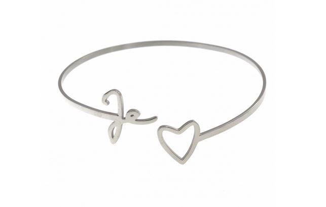 M5JC06  Bracelet jonc je t'(coeur) argent pendentif H1.00cm L4.00cm acier inoxydable - Mile Mila 21.9