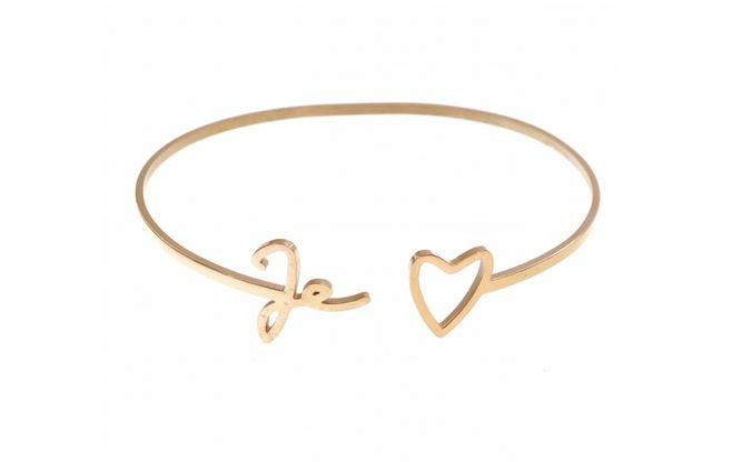 M5JC06  Bracelet jonc je t'(coeur) or rose pendentif H1.00cm L4.00cm acier inoxydable - Mile Mila 27.9