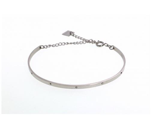 M5JC45  Bracelet jonc strass argent avec chaine de sécurité pendentif H1.30cm L1.50cm acier inoxydable - Mile Mila 17.4
