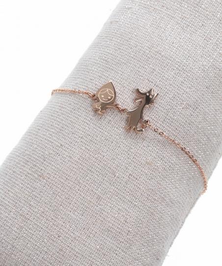 Bracelet chaperon rouge or roseH1.6cm L2.0cm acier inoxydable Milë Mila  M1C39B 20.4