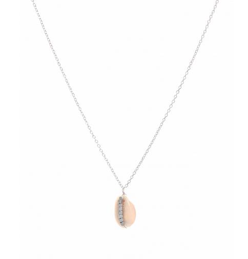 Collier cauri perles argent pendentif  H1.50cm x L1.00cm acier inoxydable Milë Mila   M19N29 15.9