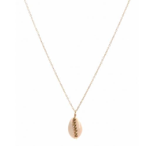 Collier cauri perles doré pendentif  H1.50cm x L1.00cm acier inoxydable  Milë Mila  M19N29 18.9