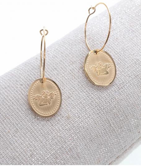 Boucles d'oreilles créole ovale ange doré pendentif H1.50cm x 1.20cm créole 2.00cm acier inoxydable Milë Mila  M18E030 21.9