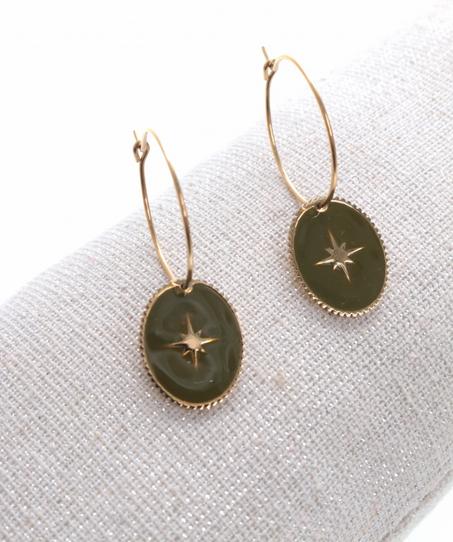 Boucles d'oreilles créole ovale étoile filante vert doré pendentif H1.50cm x 1.20cm créole 2.00cm acier inoxydable Milë Mila   M18E009 21.9