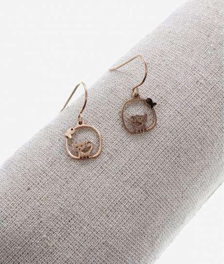 Boucles d'oreilles crochets chat poisson or rose pendentif H1.10cm x L1.10cm acier inoxydable Milë Mila  M5C16E 21.9