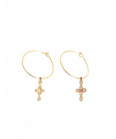 Boucle d'oreilles creole croix doré blanc H 1.4cm L 0.8cm acier inoxydable Mile Mile  M18E011 21.9