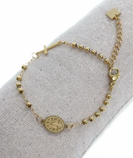 Bracelet croix petit medaillon médaillon madone doré acier inoxydable - Mile Mila 21.9