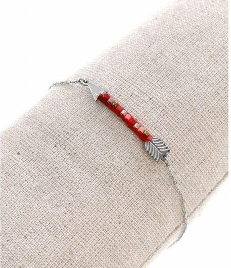 Bracelet flèchet et perles rouges argent pendentif H0.4cm L3.4cm  acier inoxydable - Mile Mila  M4C12B 15.9