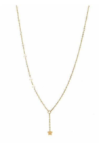 Collier étoile avec 3 perles doré pendentif H0.5cm L0.5cm acier inoxydable - Mile Mila  M1C072 20.4