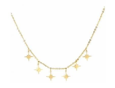 Collier multi étoiles filantes doré pendentif H 1.2cm acier inoxydable Mile Mila  M18N015 22.8