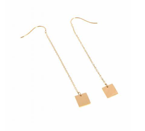 Boucles d'oreilles crochets chaine carré doré H6.0cm L0.7cm acier inoxydable - Mile Mila  M1B014 21.9