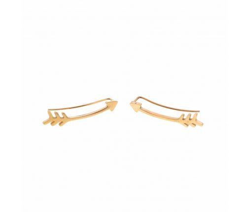 Boucles d'oreilles grimpantes flèche doré pendentif L 2.0cm H 0.5cm acier inoxydable - Mile Mila  M5B44 18.9