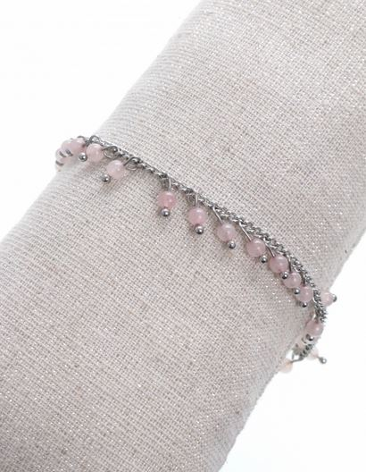Bracelet pampilles pierres roses argent pendentif H1.3cm L0.2cm acier inoxydable - Mile Mila  M5BR01 18.9
