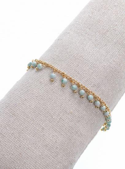 Bracelet pampilles pierres vertes doré pendentif H1.3cm L0.2cm acier inoxydable - Mile Mila  M5BR01 24.9