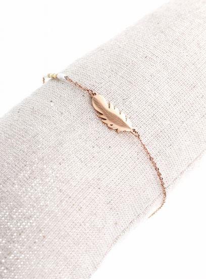 Bracelet plume or rose perles blanches pendentif H0.8cm L2.0cm acier inoxydable - Mile Mila  M1BR086 14.4