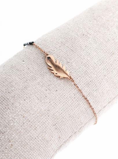 Bracelet plume or rose perles noires pendentif H0.8cm L2.0cm acier inoxydable - Mile Mila  M1BR086 14.4