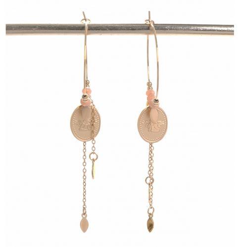 Boucles d'oreilles créoles ange rose H1.20cm x L1.00cm créole dimension 2.50cm acier inoxydable Mile Mile   M19E18 22.4