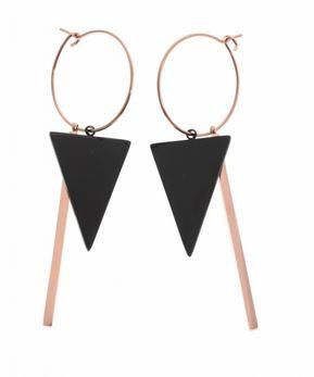 Boucles d'oreilles créoles triangle noir tige or rose H5.0cm L 2.0cm acier inoxydable Mile Mila   M5B08 23.30