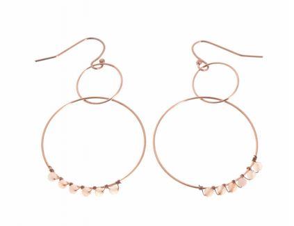 Boucles d'oreilles crochets 2 cercles perles roses H4.0cm L3.0cm or rose acier inoxydable Mile Mila   M5B58 20.5