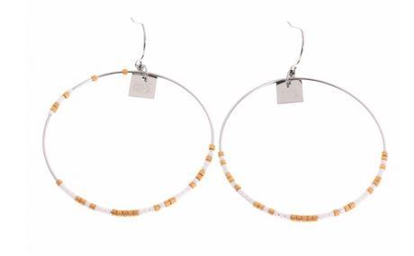 Boucles d'oreilles crochets perles blanches H 4.5cm L 4.5cm argent acier inoxydable Mile Mila  M1B064 16.3
