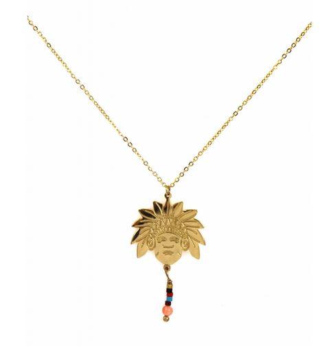 Collier tête indien et perles pendentif H3.5cm l2.0cm acier inoxydable doré - Mile Mila   M4C11 21.9