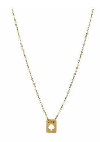 Collier rectangle pique pendentif H 1.0cm L0.7cm acier inoxydable doré - Mile Mila    M5C03  19.1