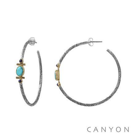 E4827 Boucles d'oreilles créoles en argent gravé ovale de turquoise reconstituée et 2 lapislazuli cerclés de laiton Dimensions  5 cm x 0,65 cm 91€