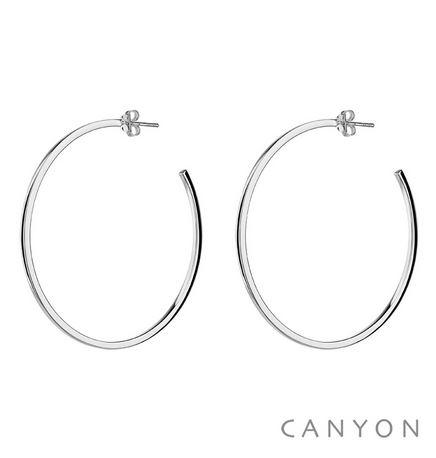 E3981-60 Boucles d'oreilles créoles en argent section carré Dimensions  6 cm 60€