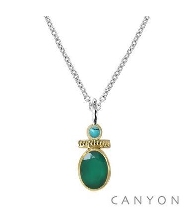 Collier argent onyx vert et petite turquoise - Canyon