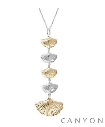 CPF1548 Collier en argent chainette rhodiée et pendentif composé de 4 petits éventails et 1 grand rhodiés ou dorés or jaune Dimensions  41 cm 70€