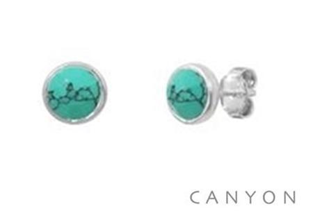 E4591 Boucles d'oreilles puces rondes argent  turquoise reconstituée Dimensions  0,8 cm 29€