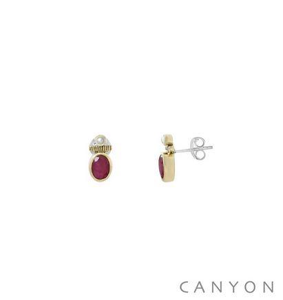 E4839 Boucles d'oreilles créoles argent et laiton petite sillimanite rouge et d'une petite perle synthétique 48€