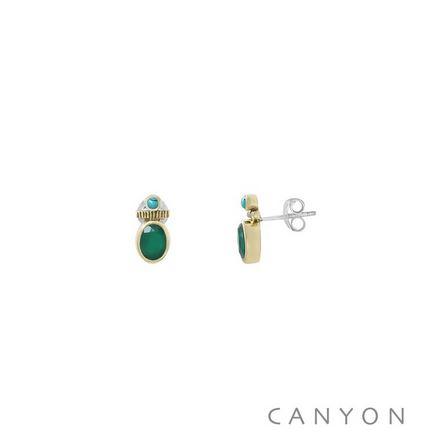 Boucles d\'oreilles créoles argent et laiton petite onyx vert et d\'une petite turquoise reconstituée  - Canyon