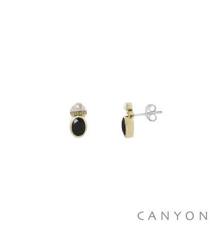 E4844 Boucles d'oreilles créoles argent et laiton petit onyx noir et d'une petite perle synthétique 48€