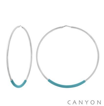 E4900 Boucles d'oreilles créoles argent  grand modèle tube d'émail turquoise Dimensions  6 cm 87€