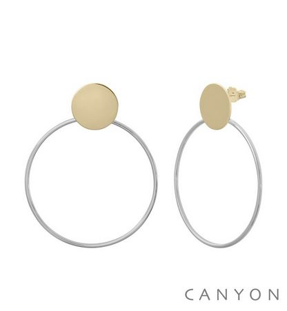E4896 Boucles d'oreilles argent puces rond doré décoré d'un cercle rhodié Ø 4 cm 67€