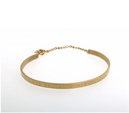 Bracelet jonc EXTRAORDINAIRE BRILLANTE MERVEILLEUSE de mère en fille largeur 0.4cm acier inoxydable doré - Mile Mila           M1BR012B  22.4
