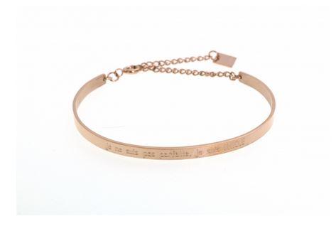 Bracelet jonc je ne suis pas parfaite, je suis UNIQUE largeur 0.4cm acier inoxydable rose - Mile Mila          M1BR12G  22.4