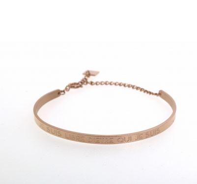 Bracelet jonc JE SUIS LIBRE D'ETRE QUI JE SUIS largeur 0.4cm acier inoxydable or rose - Mile Mila         M1BR06B 22.4
