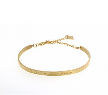 Bracelet jonc LA VIE EST BELLE largeur 0.4cm acier inoxydable doré - Mile Mila         M1BR12D  22.4