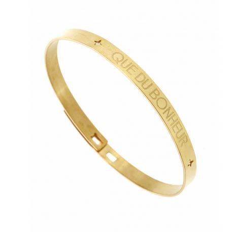 Bracelet jonc QUE DU BONHEUR  largeur 0.6cm acier inoxydable doré - Mile Mila      M1BR106    24.7