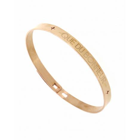 Bracelet jonc QUE DU BONHEUR  largeur 0.6cm acier inoxydable or rose - Mile Mila      M1BR106    27.9