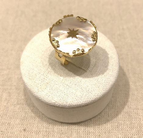 Bague réglable nacre étoile couronnes acier inoxydable doré - Milë Mila  dimension H2.10cm x L2.10cm     M19R89  17.4