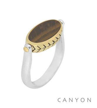 Bague en argent ovale réversible oeil de tigre et nacre blanche avec un serti laiton gravé - Canyon r5233 56€ 1.6x0.9