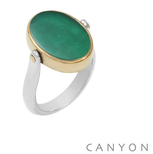 Bague argent réversible 1 côté madone et l\'autre onyx vert ovale plate cerclé de laiton - Canyon