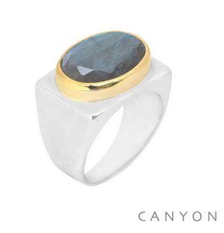 Bague argent rectangle décorée d'une labradorite ovale sertie de laiton - Canyon R5282