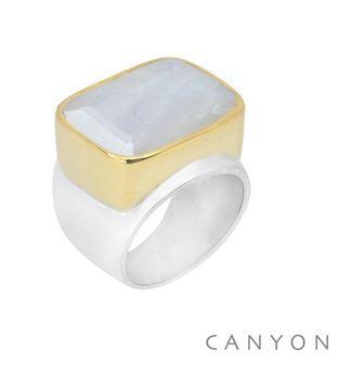 Bague argent très grande pierte de lune rectangle sertie de laiton - Canyon r5293